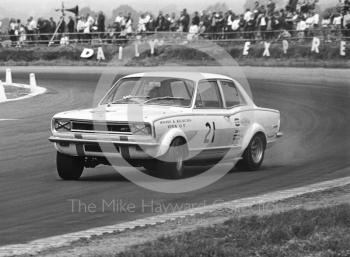 Gerry Marshall, Shaw and Kilburn Vauxhall Viva GT, at Copse Corner, Silverstone Martini Trophy meeting 1970.