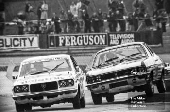 Alan Priest, Mazda RX3, and Gerry Marshall, Hamilton Motors Vauxhall Magnum, Britax Production Saloon Car Race, European F2 Championship meeting, Silverstone 1975.