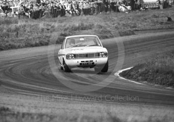 Graham Hill, Team Lotus Cortina, CTC 14E, at Cascades Bend before retiring, having set fastest lap in Class A of 89.22mph, Oulton Park Gold Cup meeting, 1967.