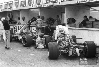 The Repco Brabham BT26 V8s of Jack Brabham, left, and Jochen Rindt in the pits during practice for the 1968 British Grand Prix at Brands Hatch.