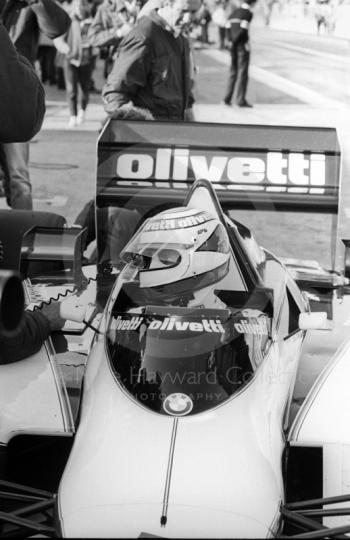 Nelson Piquet, Brabham BT54, in the pits at Brands Hatch, 1985 European Grand Prix.