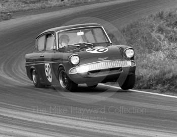 Chris Craft, Superspeed Ford Anglia, before retiring on lap 17, timed at 115.68mph on Knickerbrook straight, Oulton Park Gold Cup meeting, 1967.