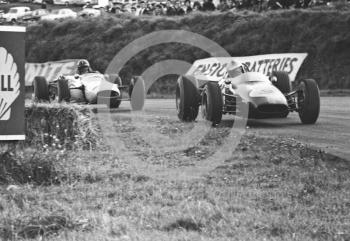 Denny Hulme on opposite lock at Knickerbrook with his F2 Brabham BT16 ahead of Graham Hill's Lotus 35 BRM, Oulton Park Gold Cup, 1965