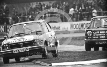 Danny Alderton, Honda Civic, Britax Production Saloon Car Race, European F2 Championship meeting, Silverstone 1975.