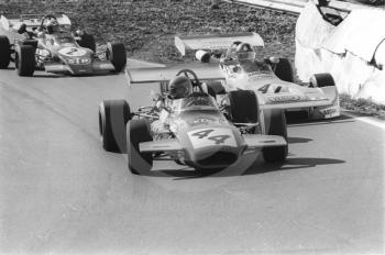 David Morgan, Edward Reeves Brabham BT35-8; Wilson Fittipaldi, Bardhal March 712M-17; and Niki Lauda, STP March 722-5, Mallory Park, Formula 2, 1972.