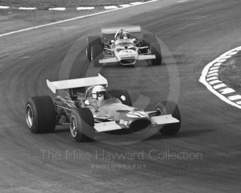 George Eaton, BRM P139 V12, at Bottom Bend before retiring with ignition problems on lap 24 followed by Jochen Rindt, Gold Leaf Team Lotus 49C, Race of Champions, Brands Hatch, 1970.