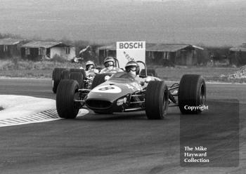 Jochen Rindt, Brabham BT23C, leads into the chicane ahead of Piers Courage, Brabham BT23C, and Jean-Pierre Beltoise, Matra MS7, Thruxton Easter Monday F2 International, 1968.
