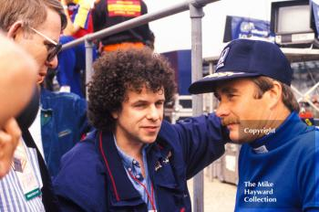 Nigel Mansell and Leo Sayer in the pits, Silverstone, 1987 British Grand Prix.