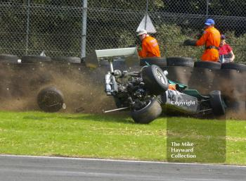 Tom Thornton, March 743, crashes at Old Hall Corner during the Derek Bell Trophy, Oulton Park Gold Cup meeting, 2002