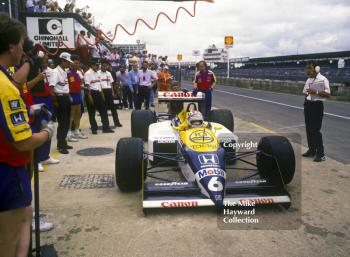 Nelson Piquet, Williams FW11B, during qualifying, British Grand Prix, Silverstone, 1987