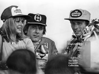 Geoff Lees on the podium after winning the 1981 John Howitt F2 Trophy at Donington