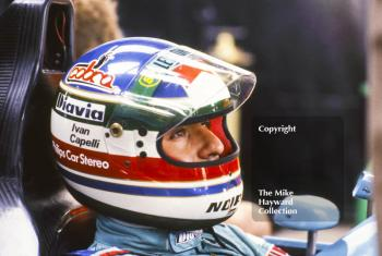 Ivan Capelli, Leyton House March Racing Team, March 871, during practice for the British Grand Prix, Silverstone, 1987.