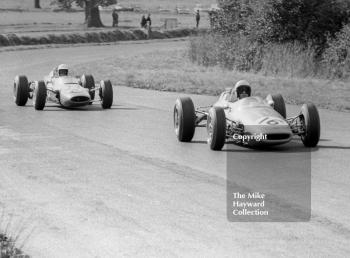 Alan Rollinson, F2 DW Racing Brabham BT16 Cosworth, and Brian Hart, Lotus 35, Oulton Park Gold Cup, 1965