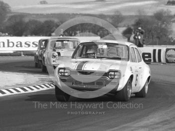 Brian Robinson, Tony Dean Racing Ford Escort Twim Cam, and Gordon Spice, Britax Cooper Downton Mini Cooper S, Thruxton Easter Monday meeting 1969.