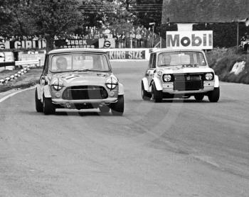 Ray Edge, Austin Mini, and John Hipkiss, Mini Clubman, Hepolite Glacier Saloon Race, Mallory Park, 1971