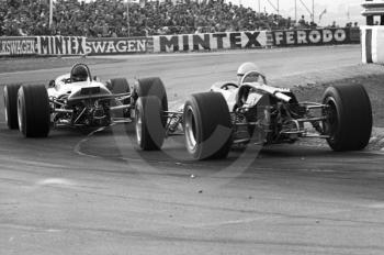 Cars exit the chicane at the Thruxton Easter Monday F2 International, 1968.