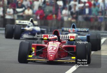 Jean Alesi, Ferrari 412T2, followed by Michael Schumacher, Benetton B195, and David Coulthard, Williams FW17, Silverstone, British Grand Prix 1995.
