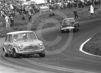 Gordon Spice, Mini Cooper S, ahead of John Fitzpatrick, Broadspeed Ford Anglia, Cascades Bend, Oulton Park Gold Cup meeting, 1967.