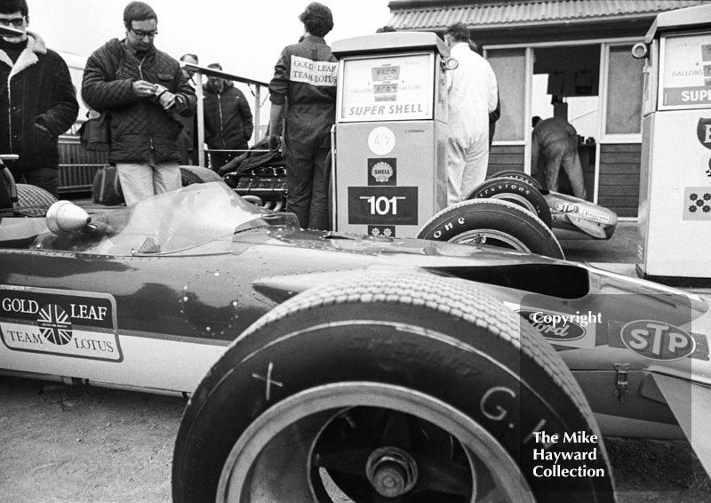 Gold Leaf Team Lotus Ford 49B of Graham Hill filling up at the pumps, Silverstone, International Trophy 1969.