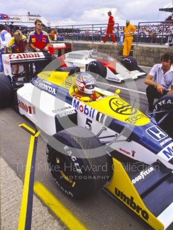 Nigel Mansell, Williams FW11B, Stefan Johansson, McLaren-TAG MP4/3, British Grand Prix, Silverstone, 1987