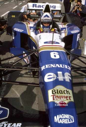David Coulthard in the pit lane with his Williams FW17, Silverstone, 1995 British Grand Prix.