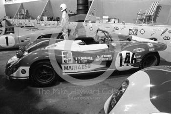 Matra 650 sports car complete with headlights and scratches at the International Racing Car Show, Olympia, 1971.