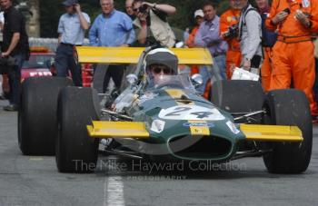 Jack Brabham demonstrates a 1969 Brabham BT26, Oulton Park Gold Cup meeting, 2002.