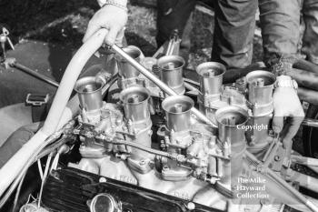 Traco Oldsmobile engine in the car of Bruce McLaren, Tourist Trophy, Oulton Park, 1965