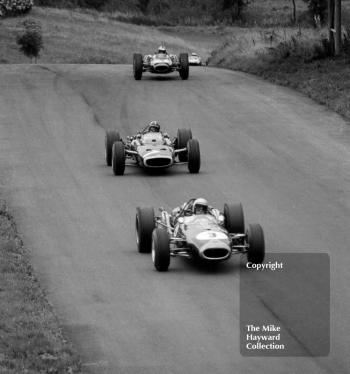 Jack Brabham, Repco Brabham BT19, Graham Hill, BRM P83 H16, and Denny Hulme, BT20, 1966 Gold Cup, Oulton Park.