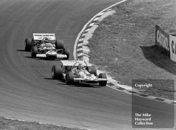 Ronnie Peterson, March 701, leads Graham Hill, Lotus 49C, 1970 British Grand Prix, Brands Hatch.