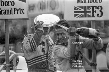 Roberto Moreno celebrates his win, Marlboro British Formula 3 championship held at the 1981 Grand Prix, Silverstone.