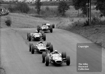 Jack Brabham, Repco Brabham BT19, Jackie Stewart, BRM P83 H16, Denny Hulme, BT20, Graham Hill P83 H16 and Jim Clark, Lotus Climax 33, 1966 Gold Cup, Oulton Park.