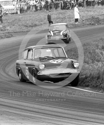 Chris Craft, Superspeed Ford Anglia, at Cascades Bend, Oulton Park Gold Cup meeting, 1967.