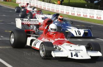 Flavian Marcais, BRM P180, and John Bladon, Surtees TS9B, Force Grand Prix Cars, Oulton Park Gold Cup meeting, 2002.