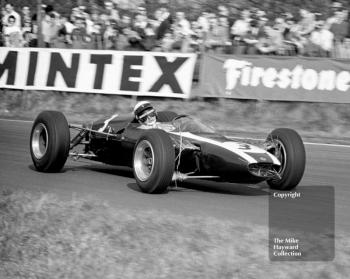 Jackie Stewart, Tyrrell Cooper T75 (F2-5-65) BRM, with straw hanging from the suspension, at Old Hall Corner, Oulton Park, Spring International 1965.
