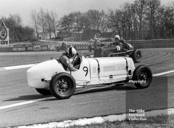 P Mann, ERA R9B having an interesting time at the chicane as C Marsh goes by in his ERA R1B, VSCC Donington May 1979