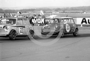 Steve Neal, Britax Cooper Downton Mini Cooper S, and John Rhodes, British Leyland Mini Cooper S, Thruxton Easter Monday meeting 1969.