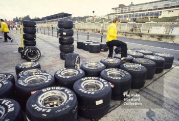 Goodyear tyres in the Renault pit, Brands Hatch, 1985 European Grand Prix.
