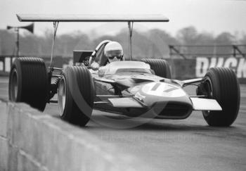 Pete Lovely, Lotus Ford 49B, at Copse Corner before an accident on the second lap, Silverstone, International Trophy 1969.