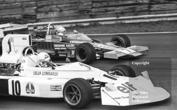 Lella Lombardi, March 751, and Vern Schuppan, Theodore Racing F5000 Lola T332, Brands Hatch, Race of Champions 1975.
