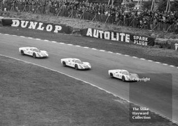 The Porsche team at Paddock Hill bend on the first lap at the BOAC 500, Brands hatch, 1968. From the front, the cars and drivers are as follows.<br />