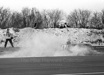 Alistair Walker, Lola T100, spins at Campbell, Thruxton Easter Monday F2 International, 1968.