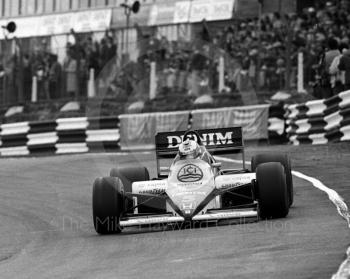 Winner Nigel Mansell, Williams FW10/6, at Paddock Bend, Brands Hatch, 1985 European Grand Prix