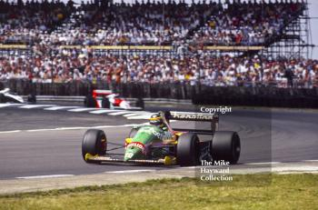 Thierry Boutsen, Benetton B187, at Copse Corner heading for 7th place, British Grand Prix, Silverstone, 1987