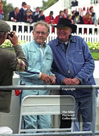 Carroll Shelby and Phil Hill pose for the camera, Goodwood Revival, 1999