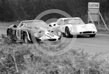 The Paul Vestey/Roy Pike Ferrari 250LM and Digby Martland/Brian Classick Chevron B8 BMW, BOAC 500, Brands Hatch, 1968