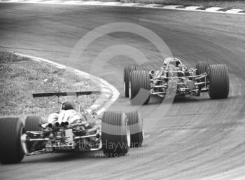 Jacky Ickx, Ferrari 312 V12 0009, brings up the rear at South Bank Bend, Brands Hatch, 1968 British Grand Prix.