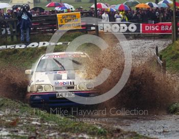 Malcolm Wilson/Bryan Thomas, Ford Sierra Cosworth (A4 FMC), water splash, 1992 RAC Rally, Weston Park