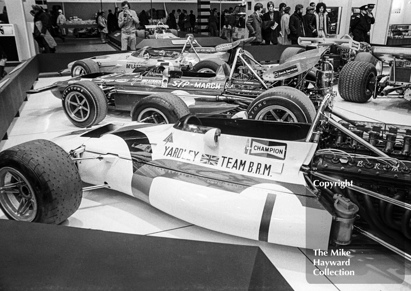 Yardley BRM P153, March 701 and McLaren M14A F1 cars at the International Racing Car Show, Olympia, 1971.