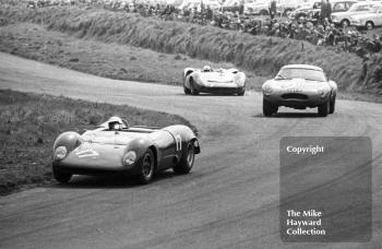 Tommy Hitchcock, Celerity Inc Brabham BT8 Climax, in the lead at Knickerbrook, Tourist Trophy, Oulton Park, 1965. He is followed by David Wansbrough, ex Dick Protheroe lightweight Jaguar E type (reg no CUT 7) and John Surtees, Lola T70.